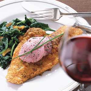 Sautéed Snapper on Wilted Spinach with Mulled Zinfandel ButterRecipe