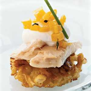 Potato Pancakes with Smoked Trout, Horseradish Crème Fraîche, and Golden Beet RelishRecipe