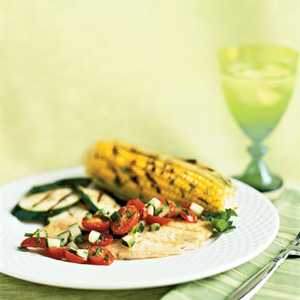 Grilled Fish with Cucumber-Tomato SalsaRecipe