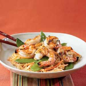 Orange-Sesame Noodles with Grilled ShrimpRecipe