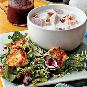 Hazelnut-crusted Goat Cheese with Mixed Greens and Blackberry VinaigretteRecipe