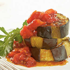 Olive Oil–Braised Eggplant with Fresh Tomato and Pomegranate Sauce Recipe