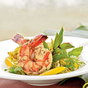 Vietnamese-style Prawns and Hearts of Palm with Green Tea-Noodle SaladRecipe