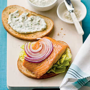 Crunchy Salmon Sandwiches with Horseradish-Dill Mayonnaise Recipe