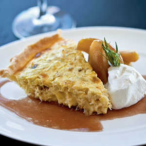 Dungeness Crab Pie with Braised Apples and Meyer Lemon Crème FraîcheRecipe