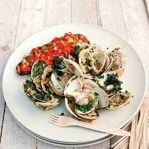 Ginger-and-Herb Pan-Grilled Clams with Tomato BruschettaRecipe