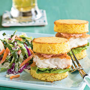 Fish Sliders on Cornbread Rounds with Red Pepper MayonnaiseRecipe