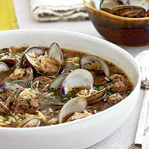 Clam Soup with Orzo and MeatballsRecipe