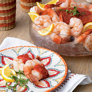 Vodka-Poached Shrimp with Bloody Mary Cocktail SauceRecipe
