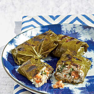 Grilled Grape Leaves Stuffed with Sausage and Goat CheeseRecipe
