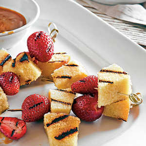 Grilled Berries and Pound Cake with Bourbon-Butterscotch SauceRecipe
