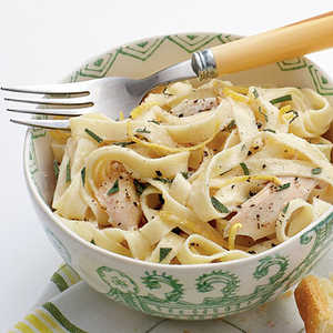 Linguine with Turkey, Basil, and Crème FraîcheRecipe