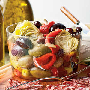 Marinated Peppers, Artichokes, and OlivesRecipe