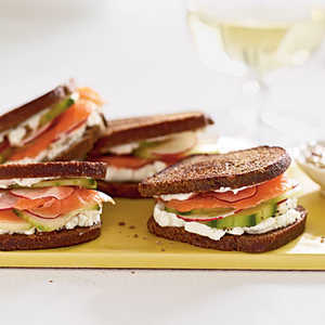 Smoked Salmon and Goat Cheese on Pumpernickel-RyeRecipe