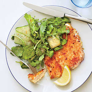 Parmesan Chicken with Arugula Salad and Tomato VinaigretteRecipe