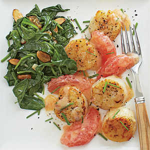 Seared Scallops with Pink Grapefruit-Brown Butter SauceRecipe
