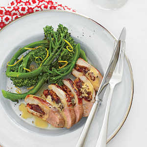 Cranberry-Apricot Stuffed Pork Chop with BroccoliniRecipe