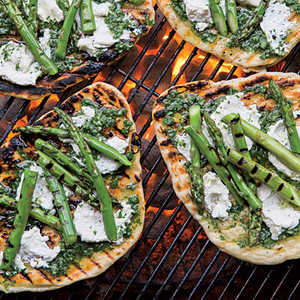 Grilled Asparagus-and-Ricotta PizzettesRecipe