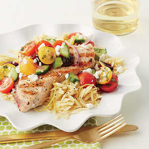 Grilled Swordfish with Chopped Greek SaladRecipe