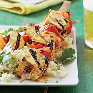 Curry Tofu-and-Bell Pepper Skewers with Sticky Coconut CouscousRecipe