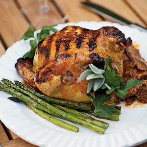 Grilled Cornish Game Hens with Apricot-Chipotle GlazeRecipe