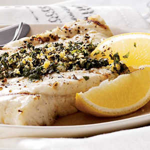 Grilled Halibut with Lemon-Mint Gremolata Recipe