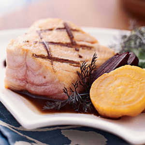 Grilled Wild Salmon with Roasted Beets and ArugulaRecipe