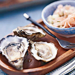 Oysters on the Half Shell with Pickled-ginger SalsaRecipe