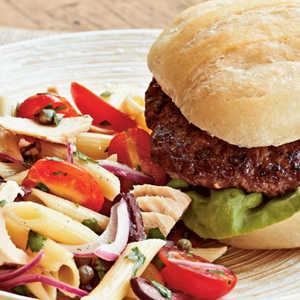Mediterranean Tuna-Pasta Salad with Brie Burgers Recipe