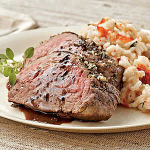 Lobster Risotto with Herb-rubbed Beef Tenderloin Recipe