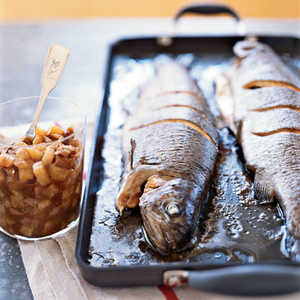 Whole Roasted Trout with Asian Pear–Fig ChutneyRecipe