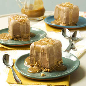 Chocolate-Peanut Ice Cream Squares With Peanut Butter SauceRecipe