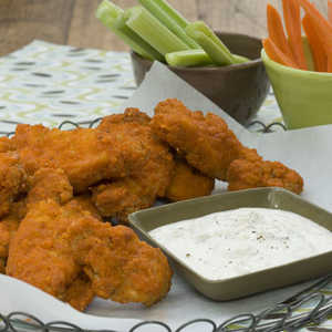 Buffalo-Seasoned Chicken Fingers With Blue Cheese Dipping SauceRecipe