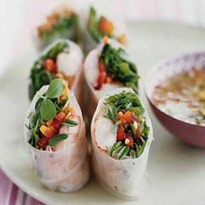 Shrimp and Crunchy Vegetable Spring Rolls with Sweet and Sour Chili SauceRecipe