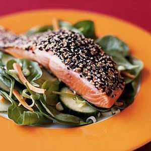Wilted Spinach Salad with Sesame-Coated Salmon Recipe