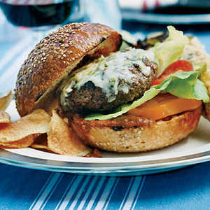 Beef Burgers with Peanut-Chipotle Barbecue Sauce Recipe