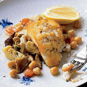 Cod with Artichokes and Chickpeas Recipe