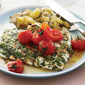 Grilled Halibut with Smashed Fingerlings and Tomato Butter Recipe