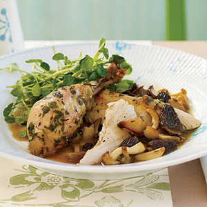 Roasted Herb Chicken with Morels and Watercress SaladRecipe