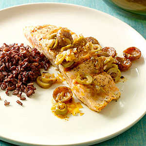 Salmon with Andouille Sausage and Green OlivesRecipe