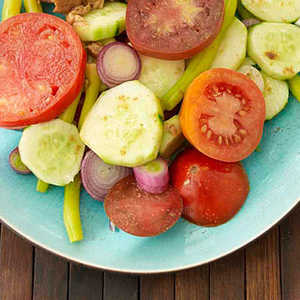 Tomato, Cucumber and Sweet Onion Salad with Cumin SaltRecipe