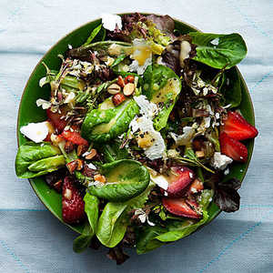Baby Lettuces with Feta, Strawberries and AlmondsRecipe