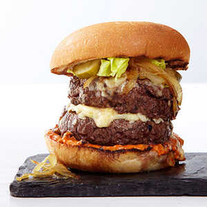 Double Cheeseburgers with Caramelized OnionsRecipe