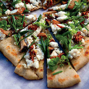 Grilled Flatbreads with Mushrooms, Ricotta and HerbsRecipe