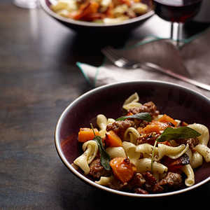 Pasta with Roasted Squash, Sausage and PecansRecipe