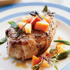 Sage-Rubbed Pork Chops with Pickled Peach RelishRecipe