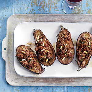 Stuffed Eggplant with Lamb and Pine NutsRecipe