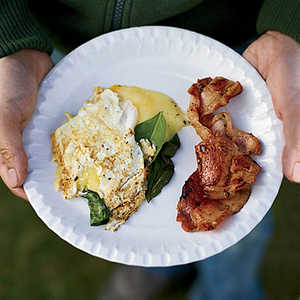 Three-Egg Omelets with Whisky BaconRecipe