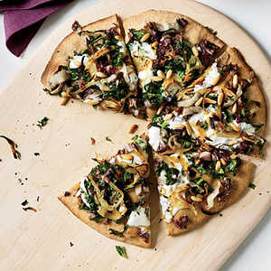 Whole-Wheat Pizza with Onions and Bitter GreensRecipe