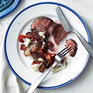Beef Tenderloin with Tomatoes, Shallots and Maytag BlueRecipe